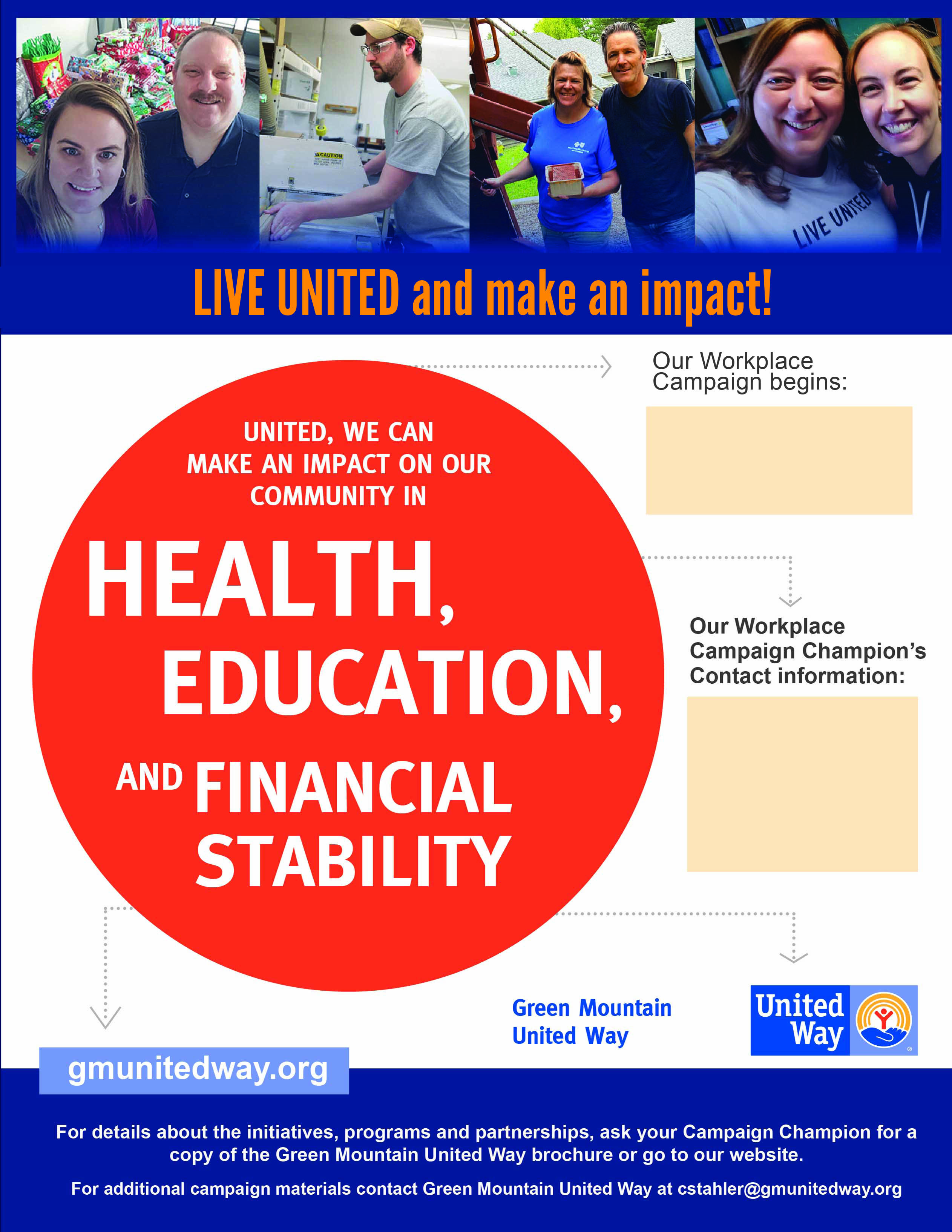 Workplace Campaigns | Green Mountain United Way